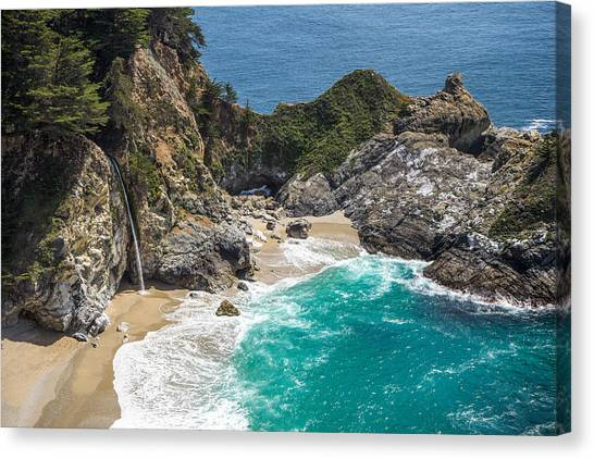 Canvas Print featuring the photograph Mcway Falls Big Sur by Priya Ghose