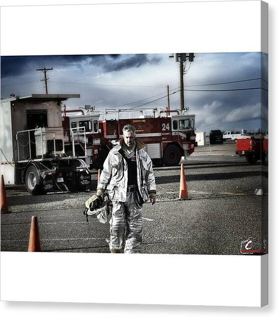 Firefighters Canvas Print - Me After A Big Fire... :) #iaff #fire by James Crawshaw