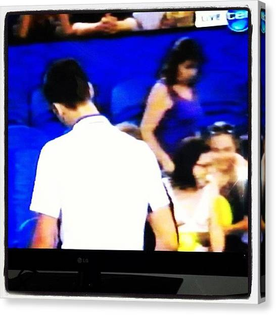 Tennis Canvas Print - Me And Novak!! I'm On Tv!! #hopmancup by Hope Trunfio