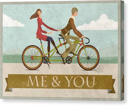 Love Canvas Print - Me And You Bike by Andy Scullion