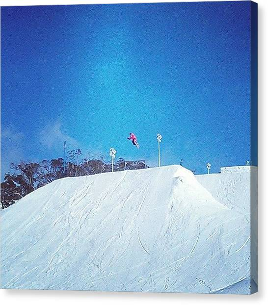 Snowboarding Canvas Print - Me Getting Some Air On The Slopes by Jenny Pogson