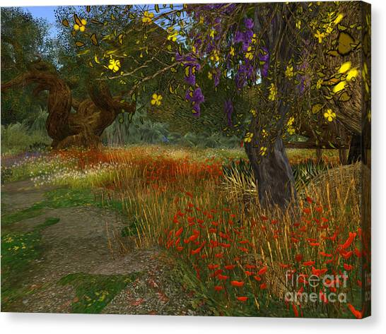 Meadow And Trees Canvas Print