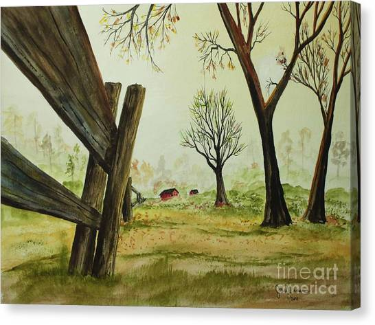 Meadow Fence Canvas Print by Jack G  Brauer