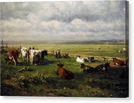 Rijksmuseum Canvas Print - Meadow Landscape With Cattle, C. 1880, By Willem Roelofs 1822-1897 by Bridgeman Images