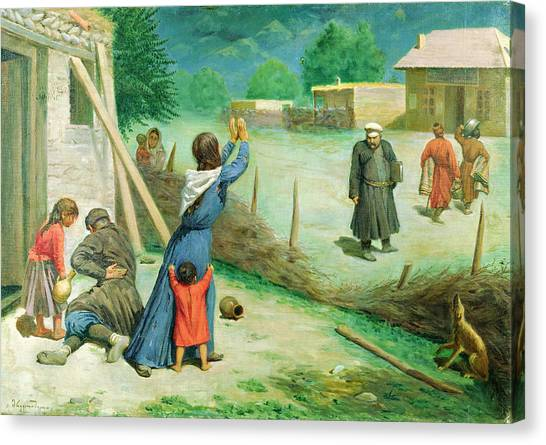 Taxes Canvas Print - Mean Collection, 1891 Oil On Canvas by A. Mrevlishvili