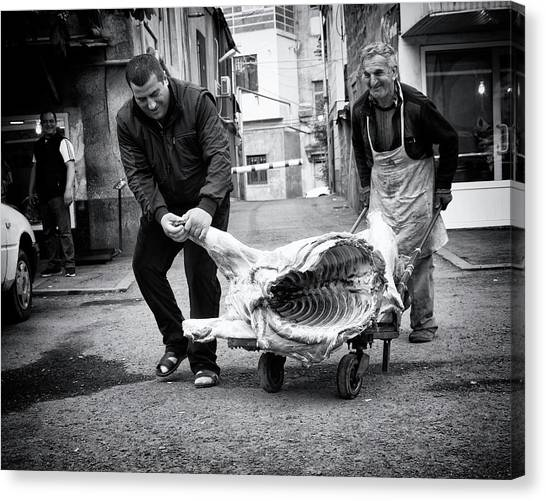 Meat Canvas Print - Meat Is Coming by Marcel Rebro
