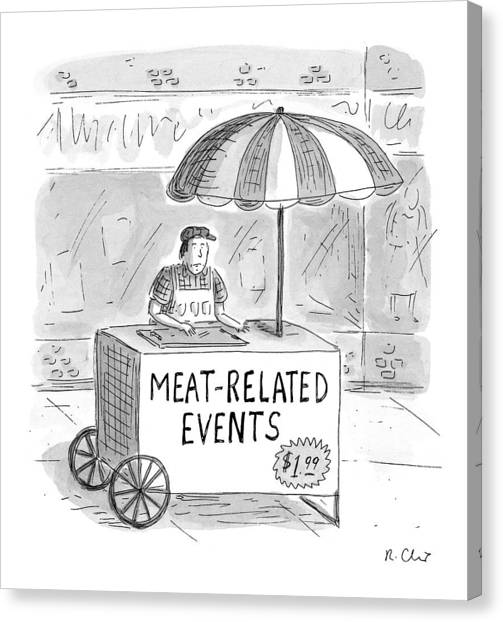Hot Dogs Canvas Print - Meat-related Events by Roz Chast