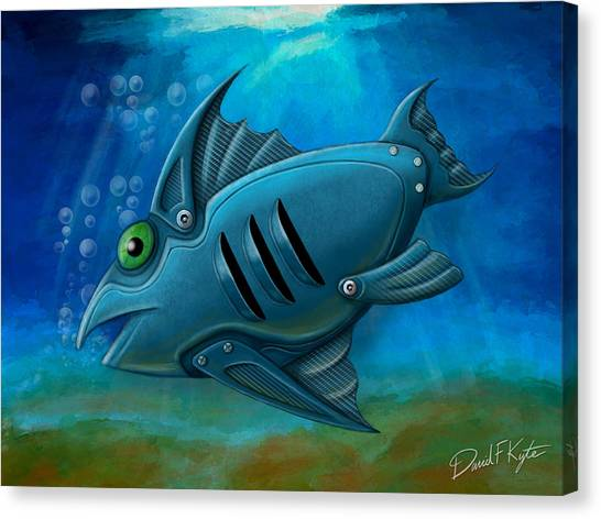 Mechanical Fish 4 Canvas Print by David Kyte