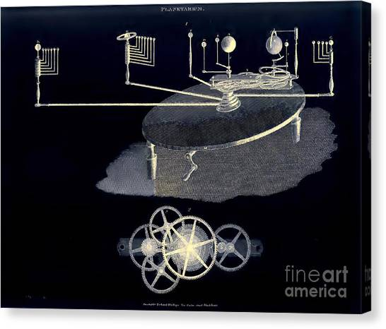 Mechanical Planetarium Circa 1807 Canvas Print by Unknown