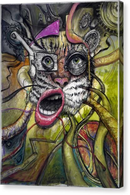 Imaginative Canvas Print - Mechanical Tiger Girl by Frank Robert Dixon