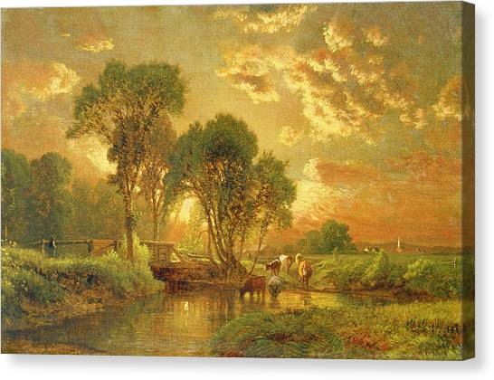 Brook Canvas Print - Medfield Massachusetts by Inness