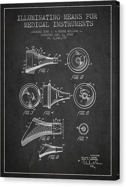 Medical Instrument Patent From 1964 - Dark Canvas Print by Aged Pixel