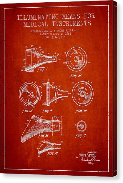 Medical Instrument Patent From 1964 - Red Canvas Print by Aged Pixel