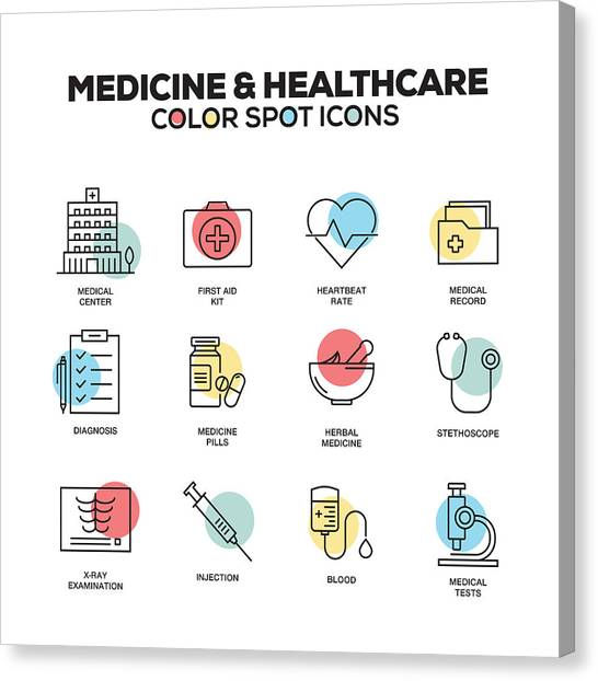 Medicine And Healthcare Icons. Vector Line Icons Set. Premium Quality. Modern Outline Symbols And Pictograms. Canvas Print by Cnythzl