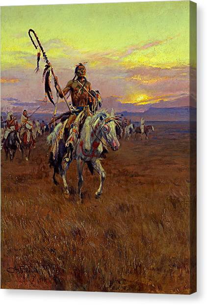 Canvas Print featuring the painting Medicine Man by Charles Marion Russell