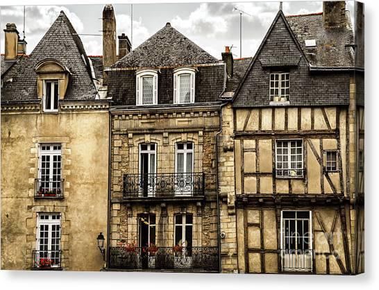 Town Canvas Print - Medieval Houses In Vannes by Elena Elisseeva
