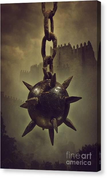 Chain Link Canvas Print - Medieval Spike Ball  by Carlos Caetano