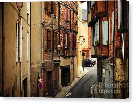 Brick House Canvas Print - Medieval Street In Albi France by Elena Elisseeva