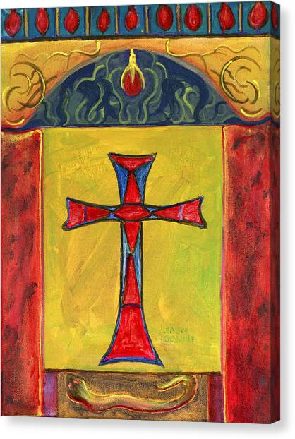 Medieval Style Symbolic Cross Original Painting Canvas Print
