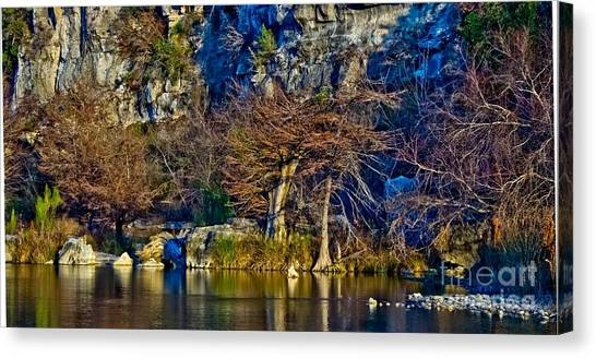 Medina River At Comanche Cliffs Canvas Print