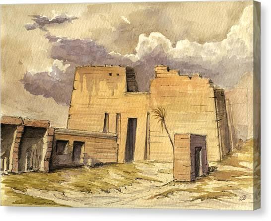Roman Art Canvas Print - Medinet Temple Egypt by Juan  Bosco