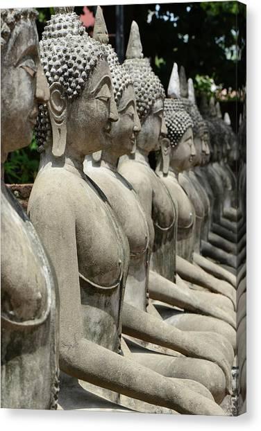 Meditating Buddha Statue At Ayutaya Canvas Print