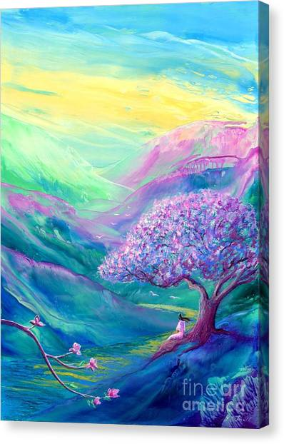 Spring Trees Canvas Print - Meditation In Mauve by Jane Small