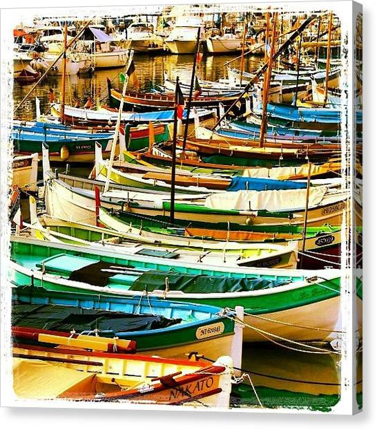 Fishing Boats Canvas Print - Mediterranean Fishing Boats by Beth Young