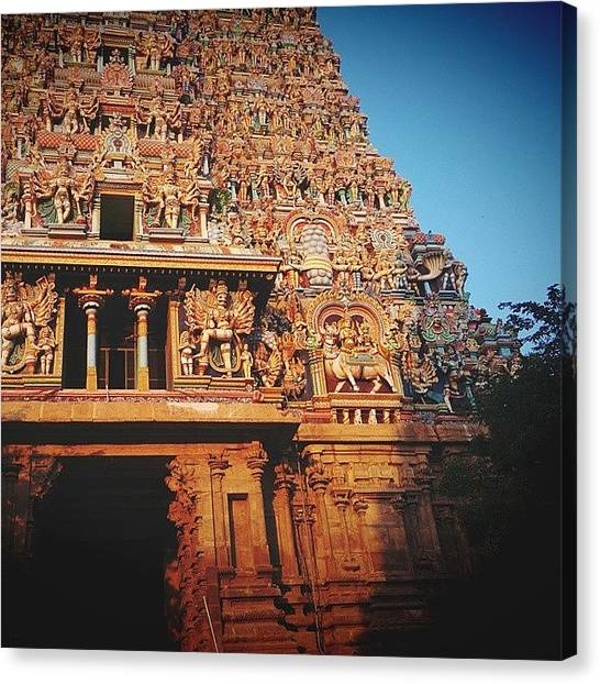 God Canvas Print - Meenakshi Temple by Raimond Klavins