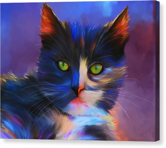 Meesha Colorful Cat Portrait Canvas Print