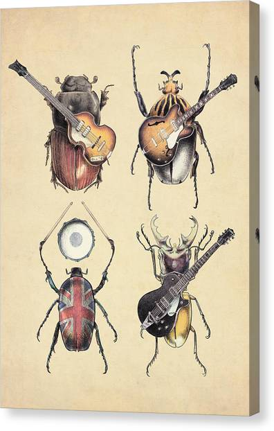 Electric Guitars Canvas Print - Meet The Beetles by Eric Fan