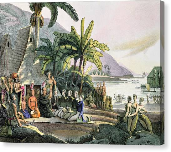 Sandwich Canvas Print - Meeting Between The Expedition Party Of Otto Von Kotzebue 1788-1846 And King Kamehameha I by Ludwig Choris