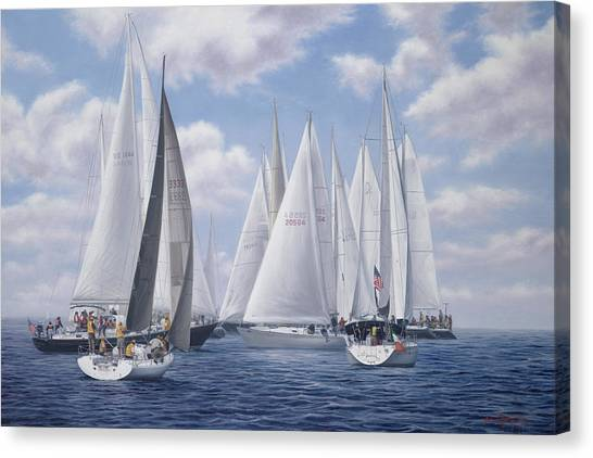 Marthas Vineyard Canvas Print - Meeting Of The Clan - Figawi Race by Julia O'Malley-Keyes