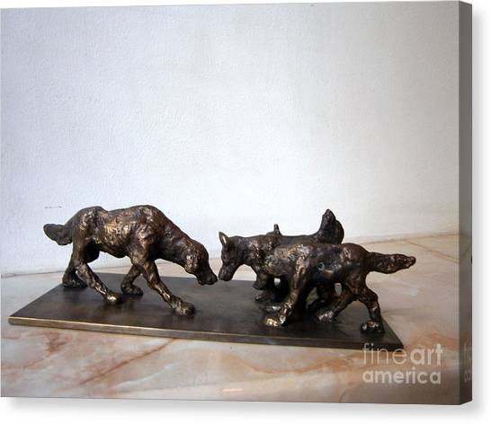 Meeting Of The Dogs Canvas Print by Nikola Litchkov