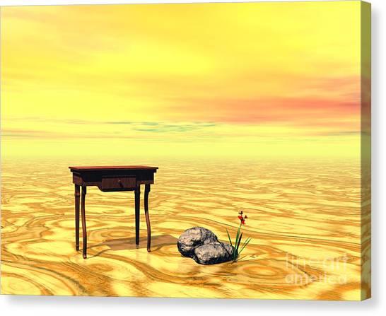 Meeting On Plain - Surrealism Canvas Print