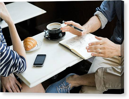 Meeting Over Coffee Canvas Print by Image Source