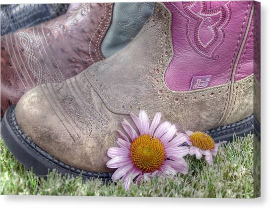 Cowboy Boots Canvas Print - Megaboots by Joan Carroll