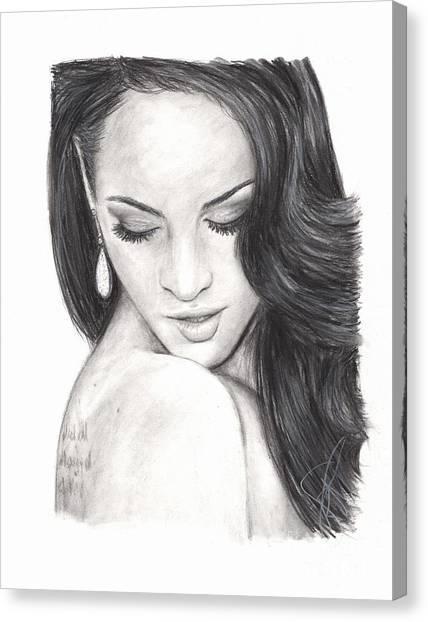 Megan Fox Canvas Print by Rosalinda Markle