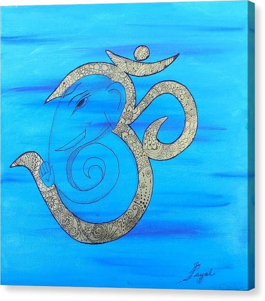 Mehndi Ganesh In Ohm  Canvas Print