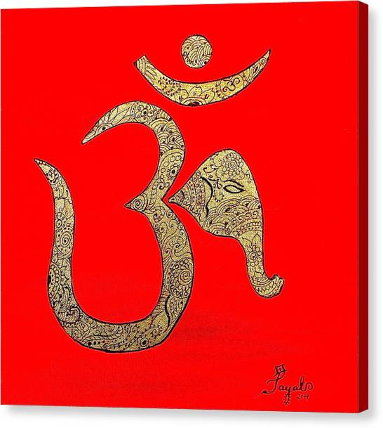 Mehndi Ganesh Ohm Canvas Print