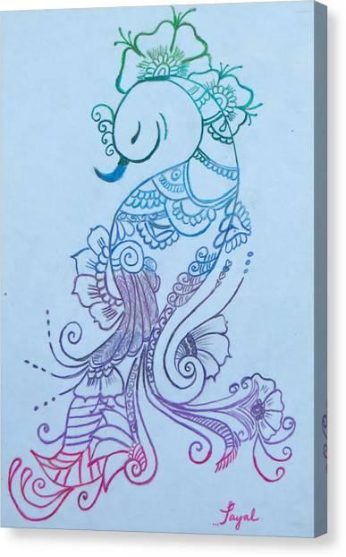 Mehndi Peacock Canvas Print