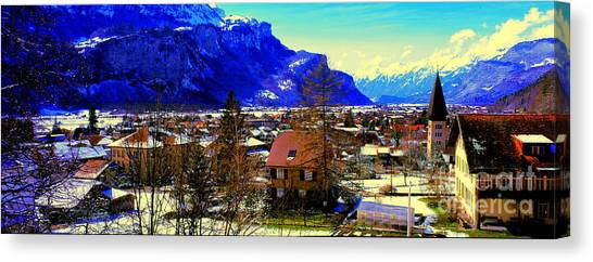 Meiringen Switzerland Alpine Village Canvas Print