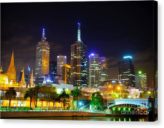 Melbourne City Skyline - Skyscapers And Lights Canvas Print