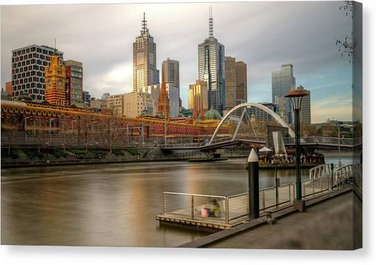 Melbourne City View From Southbank Pier Canvas Print by Mariusz Kluzniak