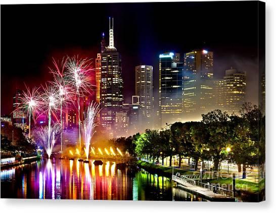 Fireworks Canvas Print - Melbourne Fireworks Spectacular by Az Jackson