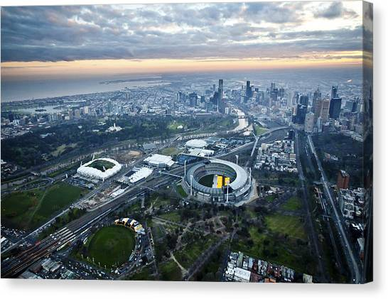 Melbourne Park, Melbourne Canvas Print by Brett Price
