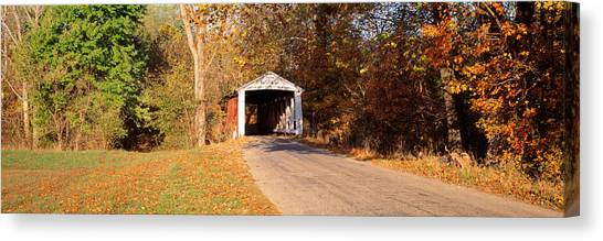Indiana Autumn Canvas Print - Melcher Covered Bridge Parke Co In Usa by Panoramic Images