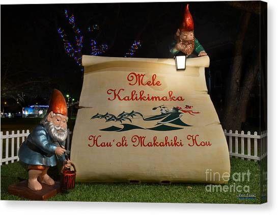 Mele Kalikimaka Sign And Elves Canvas Print