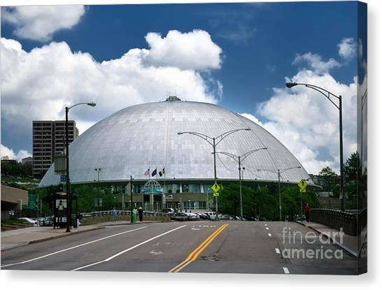 Pittsburgh Penguins Canvas Print - Mellon Arena Pittsburgh Pa by Amy Cicconi