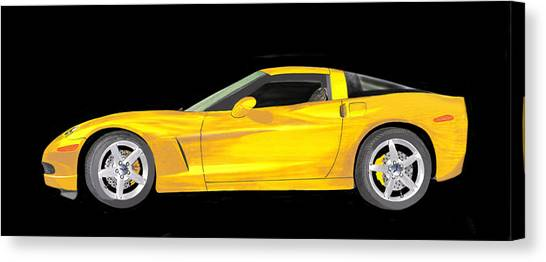 Canvas Print - Mellow Yellow Corvette C 6 by Jack Pumphrey